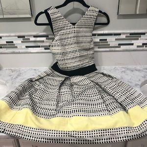 hayden black white yellow sleeveless mini dress